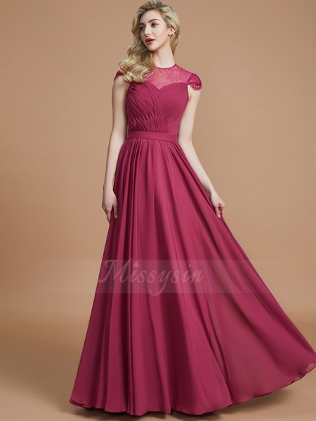 A-Line/Princess Floor-Length Scoop Short Sleeves Chiffon Bridesmaid Dresses