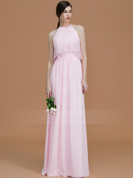 A-Line/Princess Floor-Length Halter Sleeveless Ruffles Chiffon Bridesmaid Dresses
