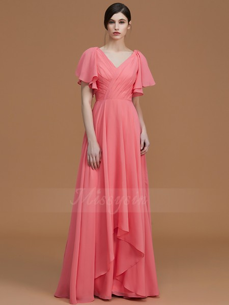 A-Line/Princess Floor-Length V-neck Short Sleeves Ruched Chiffon Bridesmaid Dresses
