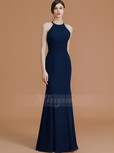Trumpet/Mermaid Floor-Length Halter Sleeveless Ruched Chiffon Bridesmaid Dresses