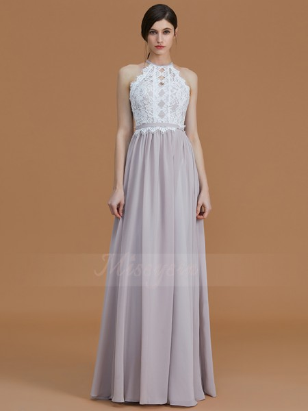 A-Line/Princess Floor-Length Halter Sleeveless Chiffon Bridesmaid Dresses