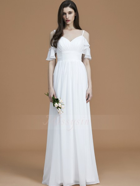 A-Line/Princess Floor-Length Spaghetti Straps Sleeveless Ruffles Chiffon Bridesmaid Dresses