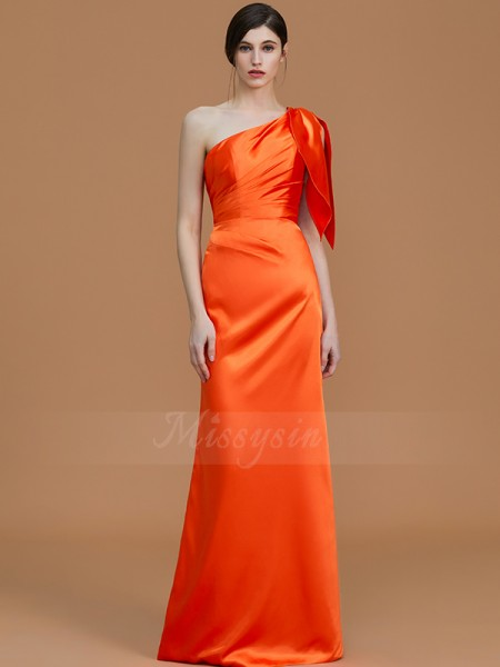 Trumpet/Mermaid Floor-Length One-Shoulder Sleeveless Ruched Satin Bridesmaid Dresses