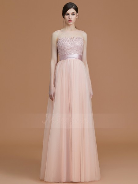 A-Line/Princess Floor-Length Bateau Sleeveless Applique Tulle Bridesmaid Dresses