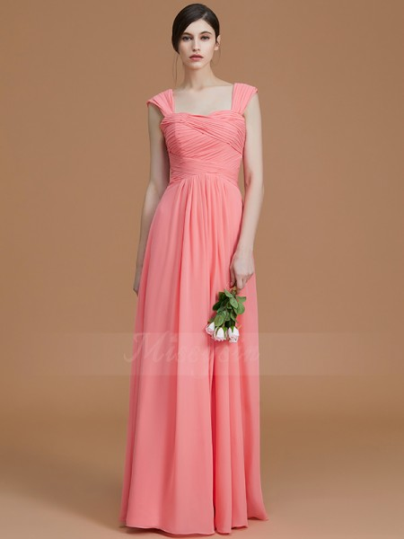 A-Line/Princess Floor-Length Sweetheart Sleeveless Ruched Chiffon Bridesmaid Dresses