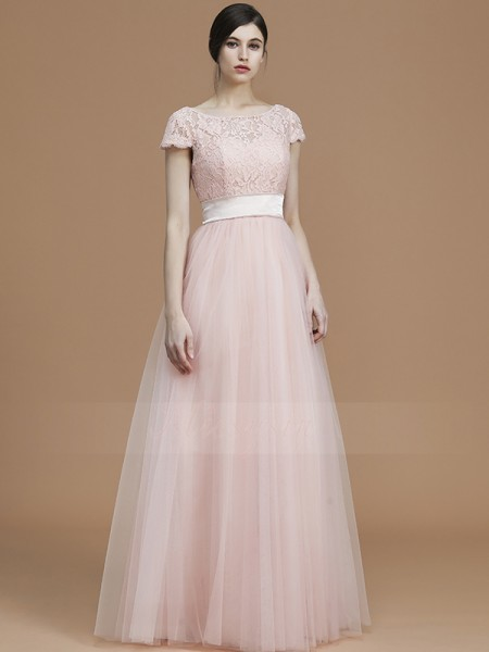 A-Line/Princess Floor-Length Bateau Short Sleeves Sash/Ribbon/Belt Tulle Bridesmaid Dresses