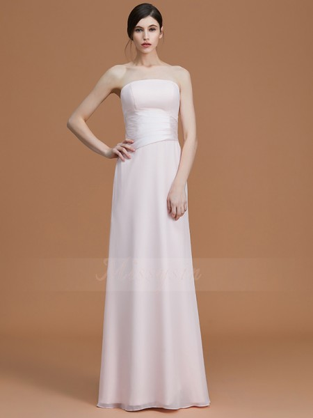 A-Line/Princess Floor-Length Strapless Sleeveless Ruched Chiffon Bridesmaid Dresses