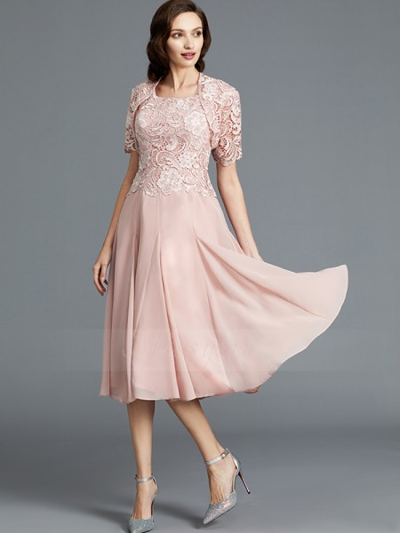 A-Line/Princess Scoop Sleeveless Tea-Length Chiffon Mother of the Bride Dresses