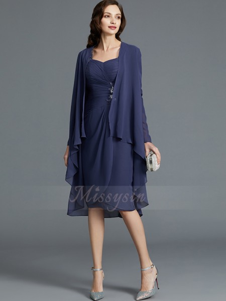 Sheath/Column Sweetheart 1/2 Sleeves Knee-Length Chiffon Mother of the Bride Dresses