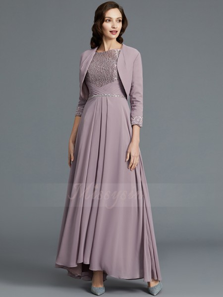A-Line/Princess Scoop 1/2 Sleeves Asymmetrical Chiffon Mother of the Bride Dresses