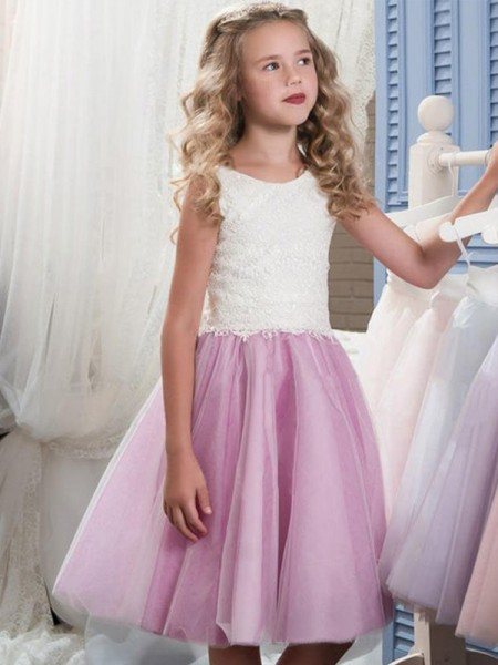 A-Line/Princess Sleeveless Scoop Knee-Length Tulle Flower Girl Dresses