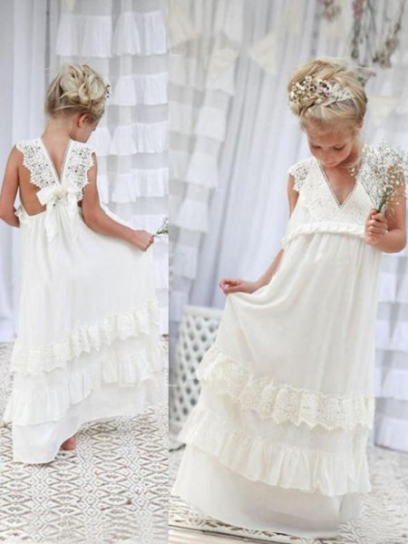 Empire Sleeveless V-neck Floor-Length Chiffon Flower Girl Dresses