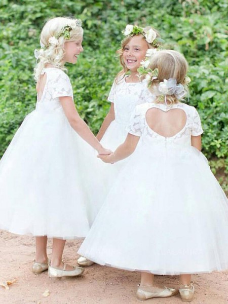Ball Gown Short Sleeves Scoop Tea-Length Tulle Flower Girl Dresses