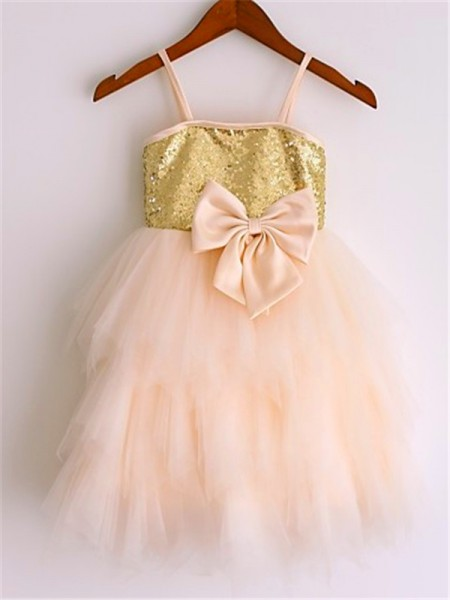 A-line/Princess Sleeveless Net Spaghetti Straps Tea-Length Sequin Flower Girl Dresses