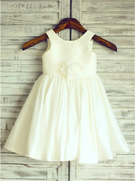 A-line/Princess Sleeveless Chiffon Scoop Tea-Length Hand-Made Flower Flower Girl Dresses