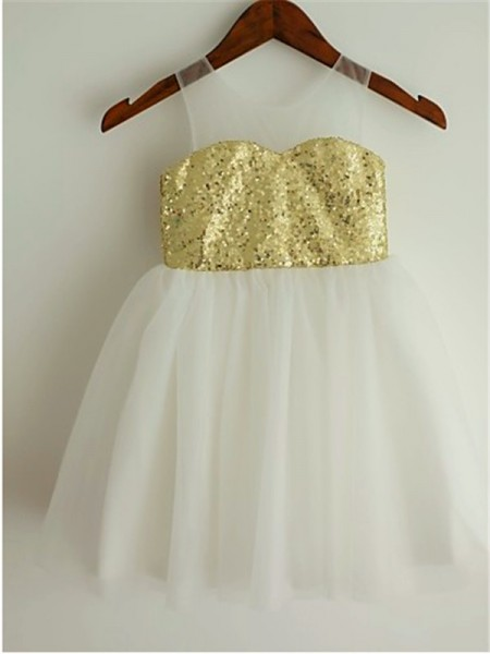 A-line/Princess Sleeveless Tulle Scoop Tea-Length Sequin Flower Girl Dresses