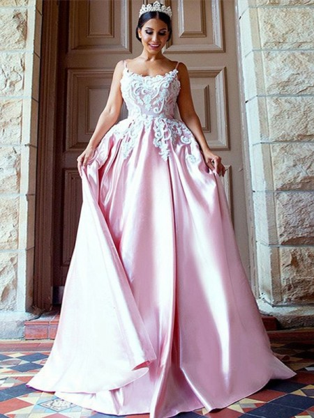 Ball Gown Spaghetti Straps Sleeveless Applique Sweep/Brush Train Satin Dresses