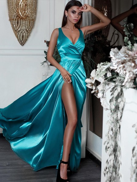 A-Line/Princess V-neck Sleeveless Ruffles Sweep/Brush Train Satin Dresses