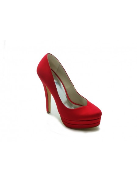 Women's Gorgeous Satin Stiletto Heel High Heel Red Wedding Shoes