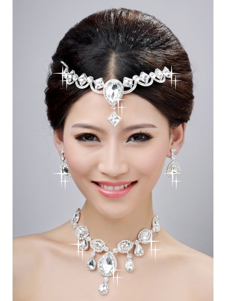 Hot Sale Charming Alloy Clear Crystals Wedding Headpieces Necklaces Earrings Set