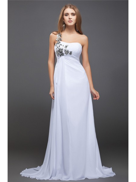 A-Line/Princess One-Shoulder Sweep/Brush Train ,Sequin Sleeveless Chiffon Dresses