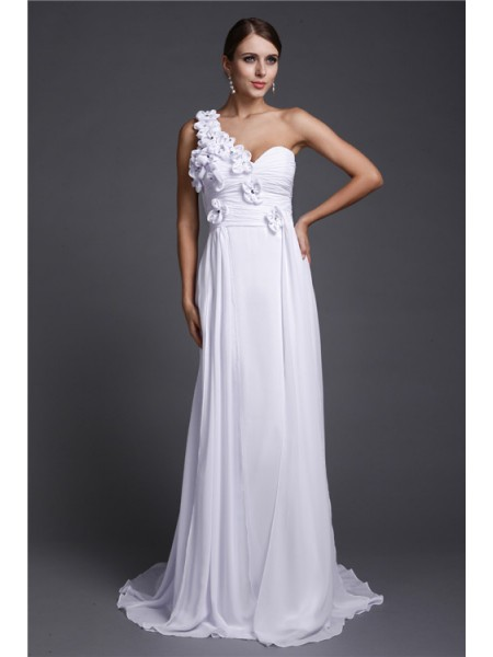 A-Line/Princess One-Shoulder Sweep/Brush Train Hand-Made Flower Sleeveless Chiffon Dresses