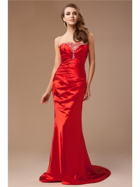 Trumpet/Mermaid Strapless Sweep/Brush Train Beading Sleeveless Taffeta Dresses