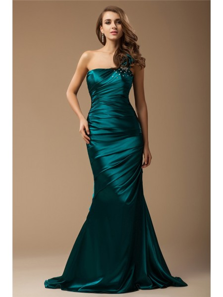 Trumpet/Mermaid One-Shoulder Sweep/Brush Train Ruffles,Beading Sleeveless Elastic Woven Satin Dresses