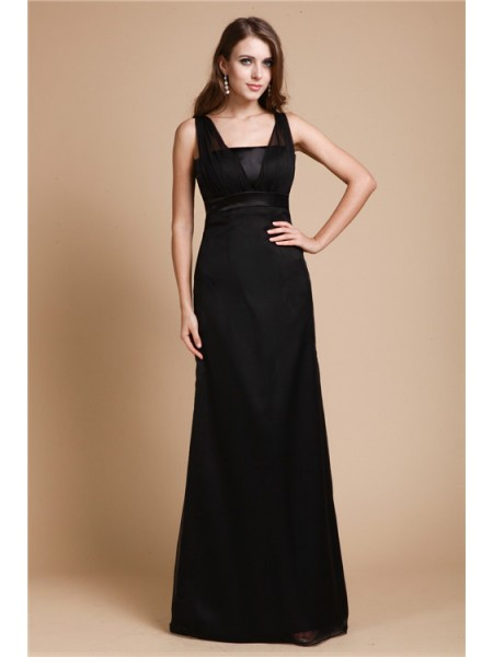 Sheath/Column Straps Floor-Length Sash/Ribbon/Belt Sleeveless Chiffon Dresses