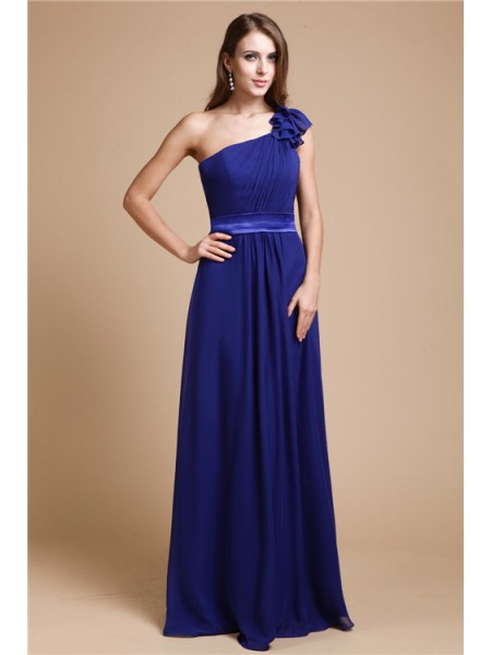 A-Line/Princess One-Shoulder Floor-Length Ruffles Sleeveless Chiffon Dresses