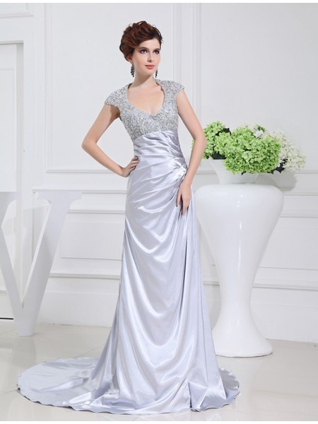 A-Line/Princess Scoop Sweep/Brush Train Beading,Lace Sleeveless Elastic Woven Satin Dresses