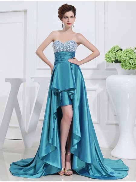 A-Line/Princess Sweetheart Asymmetrical Beading Sleeveless Taffeta Dresses