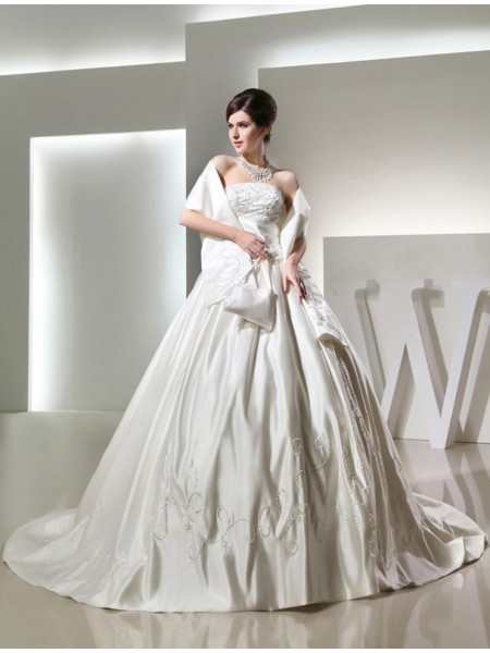 Ball Gown Strapless Chapel Train Beading,Embroidery Sleeveless Satin Wedding Dresses