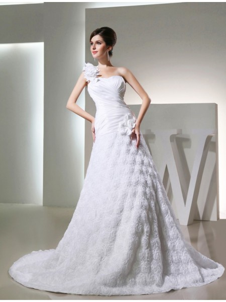 A-Line/Princess One-Shoulder Cathedral Train Hand-Made Flower Sleeveless Taffeta Wedding Dresses