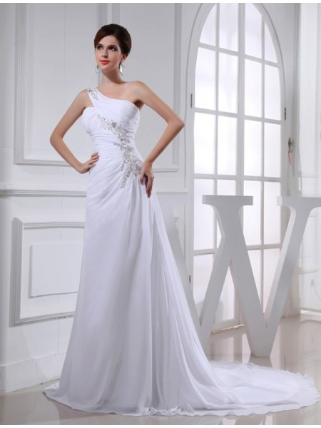 A-Line/Princess One-Shoulder Court Train Beading,Applique Sleeveless Chiffon Wedding Dresses