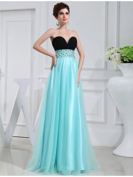 A-Line/Princess Sweetheart Floor-Length Beading Sleeveless Elastic Woven Satin Dresses