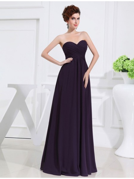 A-Line/Princess Sweetheart Floor-Length Pleats Sleeveless Chiffon Bridesmaid Dresses