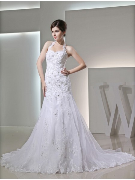 Trumpet/Mermaid Halter Chapel Train Beading,Applique Sleeveless Satin Wedding Dresses