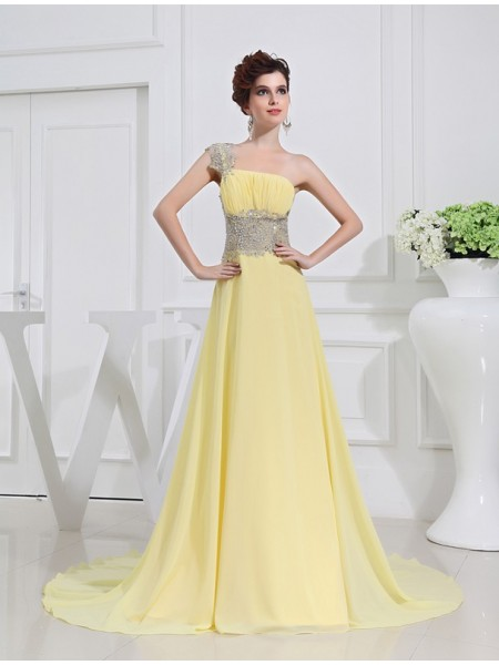 A-Line/Princess One-Shoulder Sweep/Brush Train Beading Sleeveless Chiffon Dresses