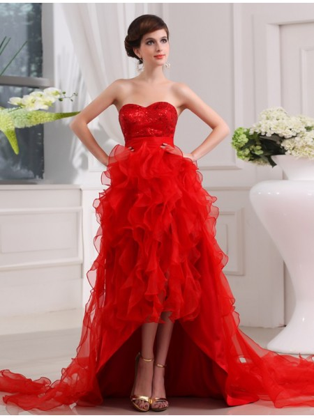 A-Line/Princess Sweetheart Asymmetrical Sequin Sleeveless Organza Dresses