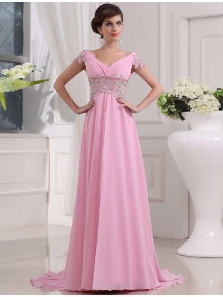 A-Line/Princess V-neck Sweep/Brush Train Beading Short Sleeves Chiffon Dresses