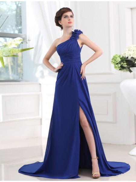 A-Line/Princess One-Shoulder Sweep/Brush Train Pleats,Hand-Made Flower Sleeveless Chiffon Dresses