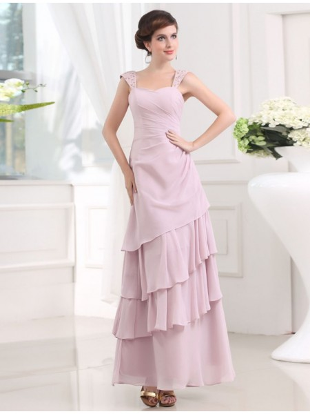A-Line/Princess Straps Ankle-Length Beading,Layers Sleeveless Chiffon Dresses