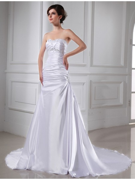 A-Line/Princess Strapless Chapel Train Beading,Applique Sleeveless Elastic Woven Satin Wedding Dresses