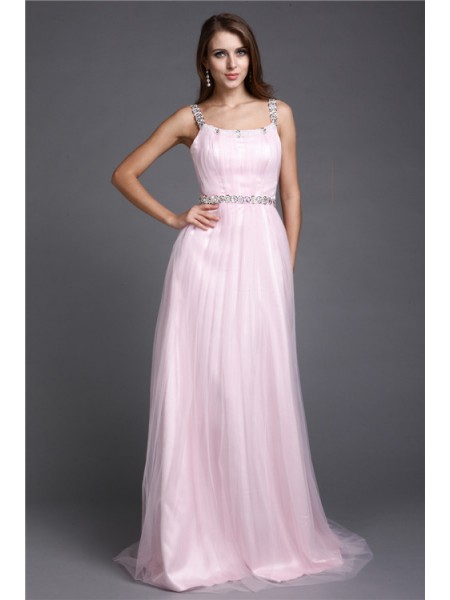 A-Line/Princess Spaghetti Straps Floor-Length Rhinestone Sleeveless Net Dresses