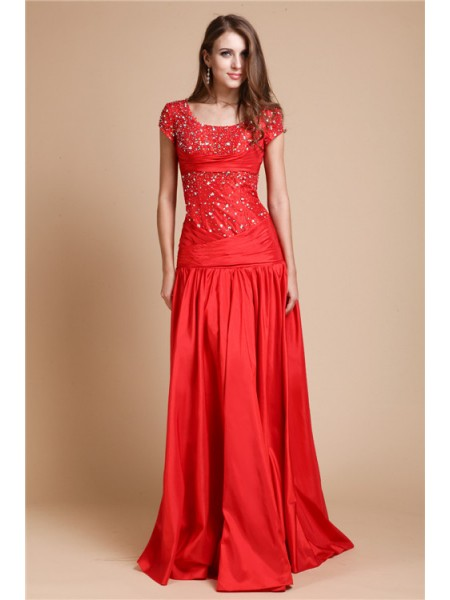 A-Line/Princess Scoop Floor-Length Beading Short Sleeves Taffeta Dresses