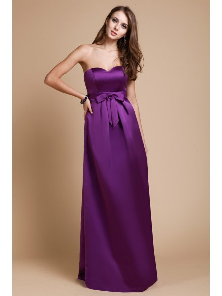Sheath/Column Sweetheart Floor-Length Bowknot Sleeveless Elastic Woven Satin Bridesmaid Dresses