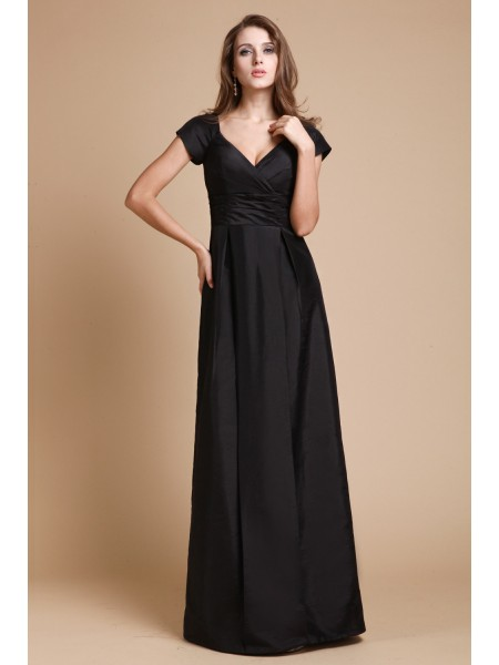 Sheath/Column V-neck Floor-Length Ruffles Short Sleeves Taffeta Dresses