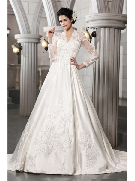 A-Line/Princess V-neck Chapel Train Beading,Applique Long Sleeves Satin Wedding Dresses
