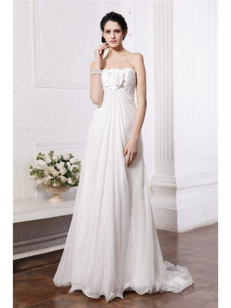 A-Line/Princess Strapless Sweep/Brush Train Hand-Made Flower,Beading Sleeveless Chiffon Wedding Dresses